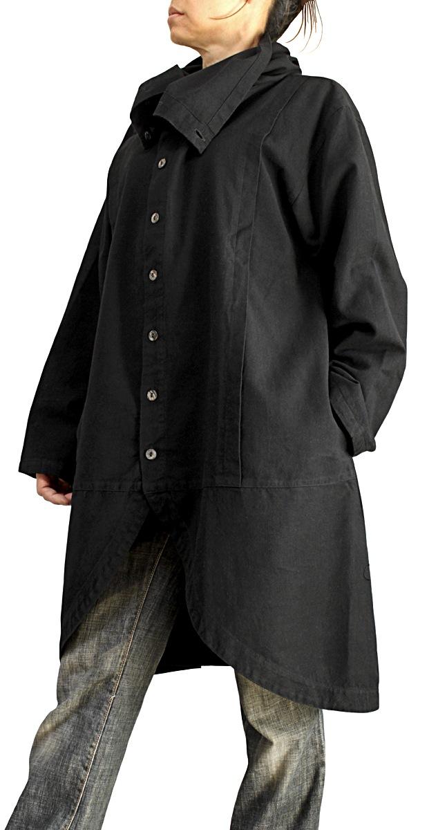 ジョムトン手織り綿のタートルボタンコート(黒)