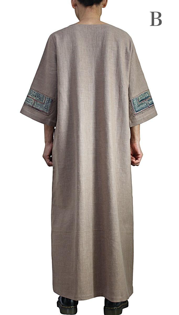 モンの古布使いヘンプドレス(DHM-005-03)