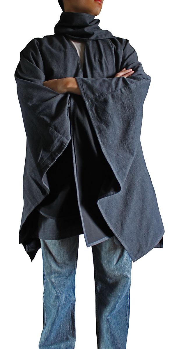 ジョムトン手織り綿虚無僧のマントコート(墨黒)