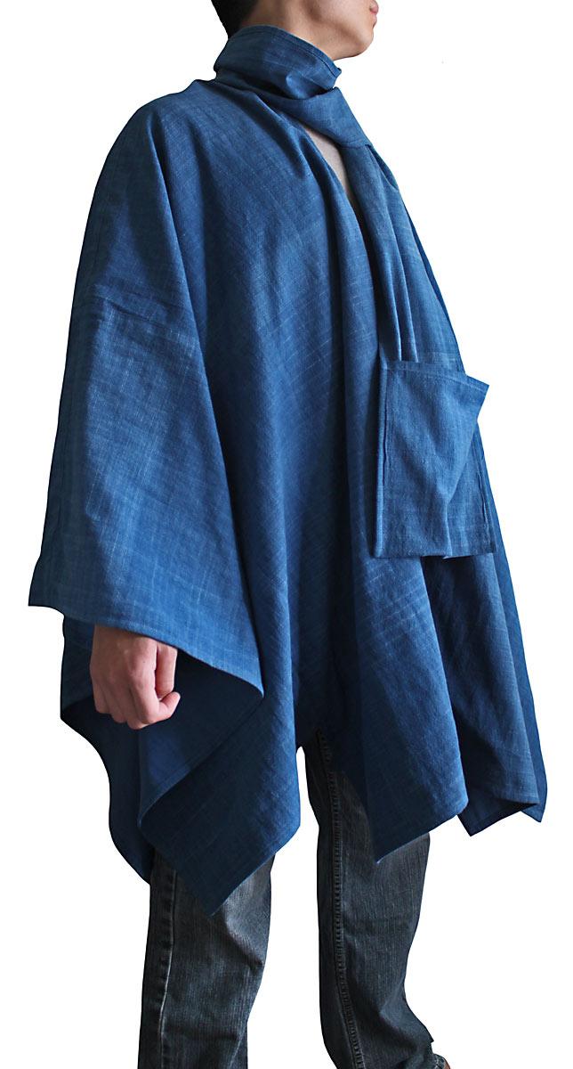 ジョムトン手織り綿虚無僧のマントコート(インディゴ)