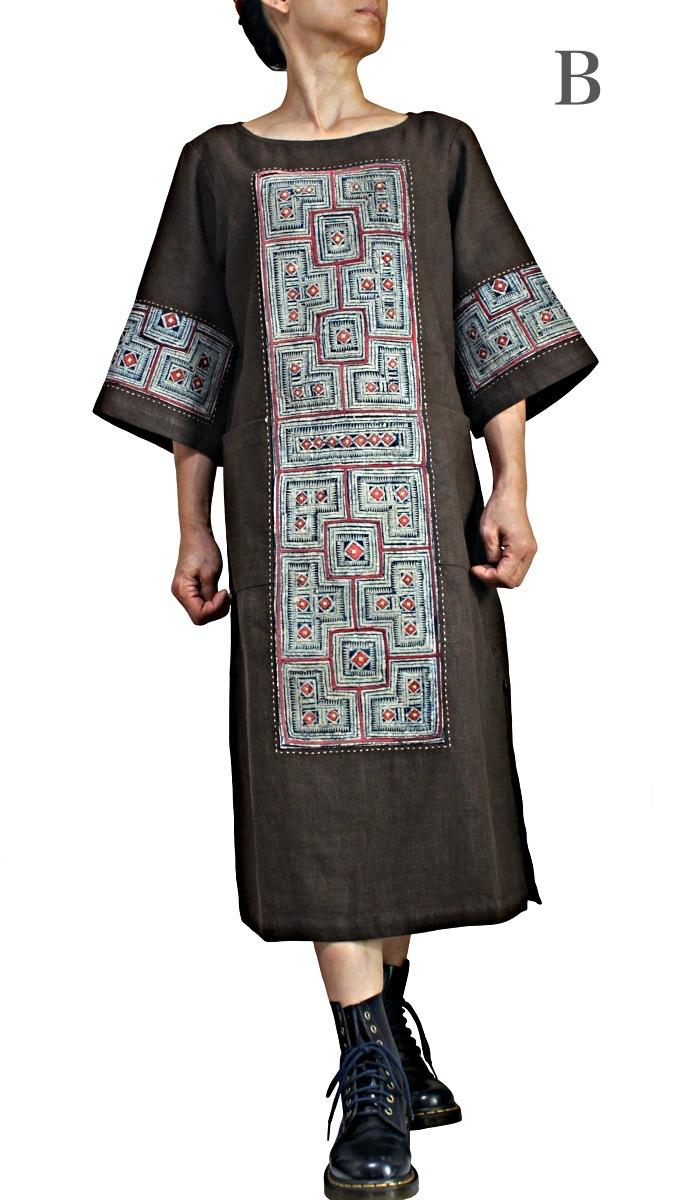 モンの古布使いヘンプドレス(DHM-006-05)