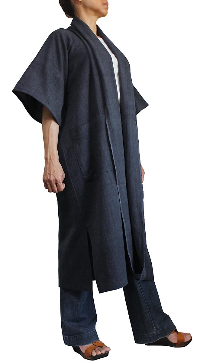 ジョムトン手織り綿のサマーコート(墨黒)