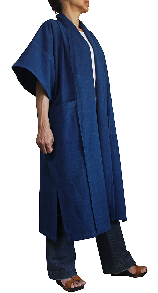 ジョムトン手織り綿のサマーコート(インディゴ)