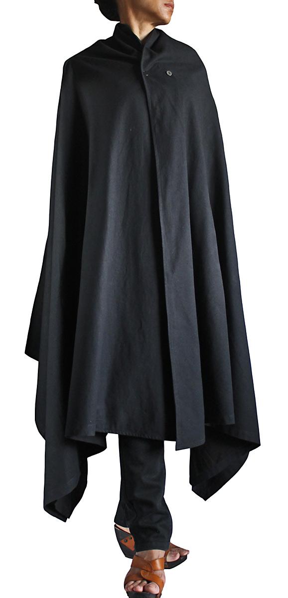 ジョムトン手織り綿シンプルマント(黒)