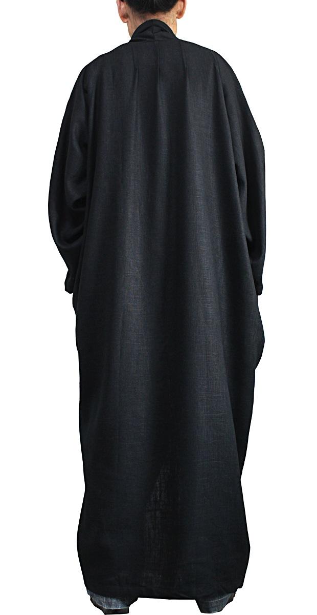 柔らかヘンプのロングコクーンコート(黒)