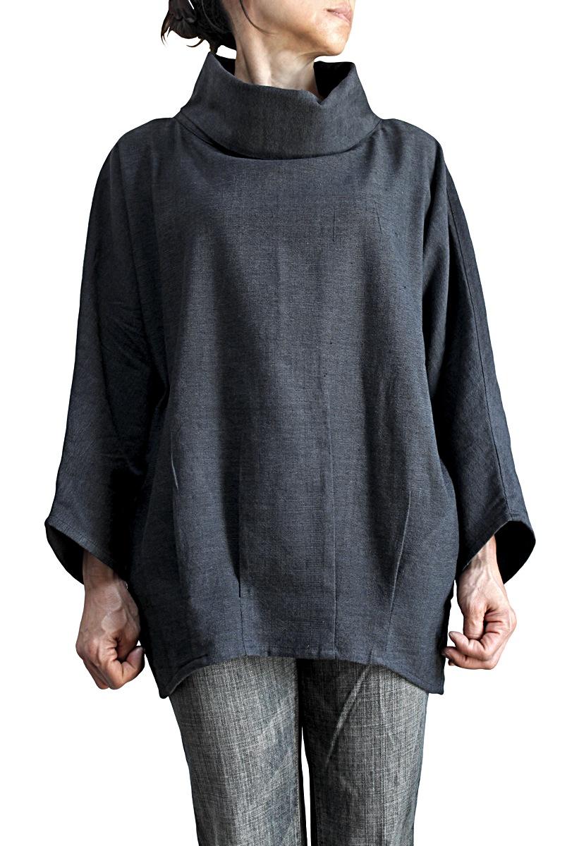 ジョムトン手織り綿のオフハイネックプルオーバー(墨黒)