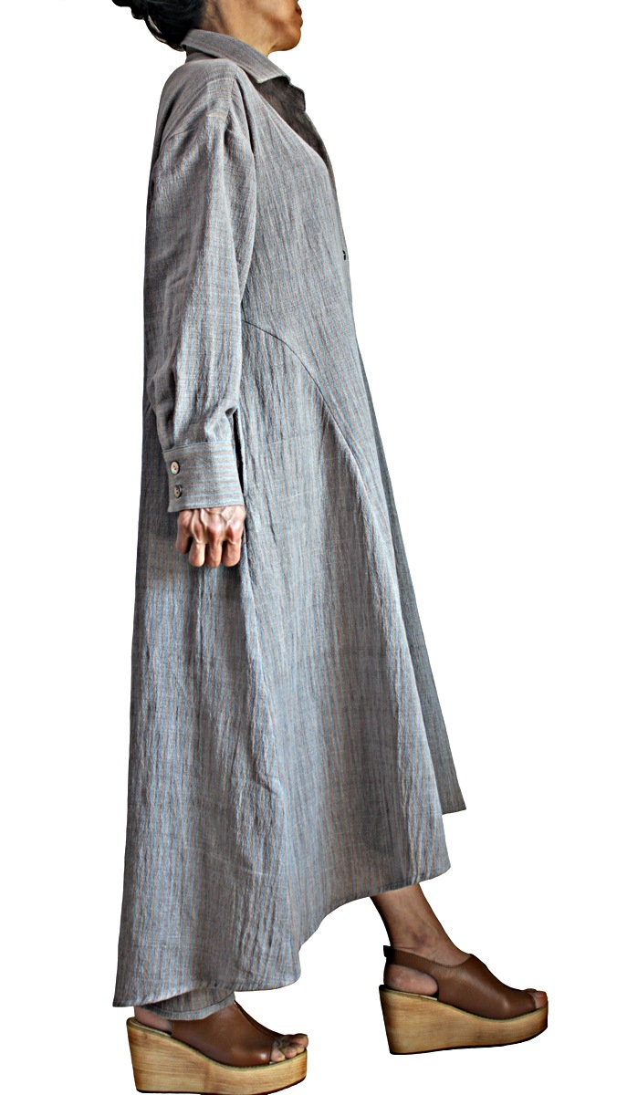 ジョムトン手織り綿天然草木染めシンプルドレスコート(DNN-104-03)
