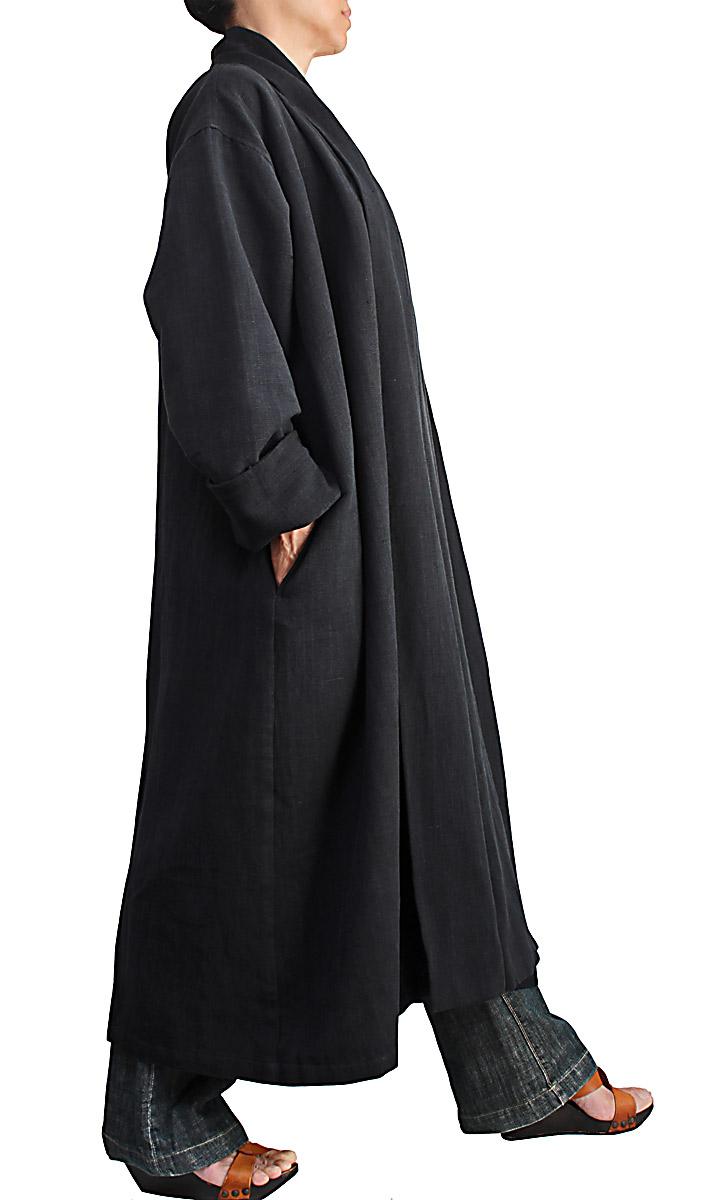 ジョムトン手織り綿ローブコート(黒)