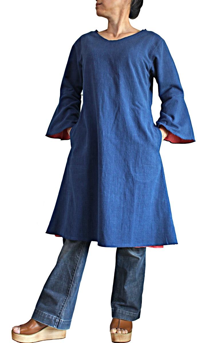 ジョムトン手織り綿ピンク裏地付きシンプルチュニック (BFS-179-03)