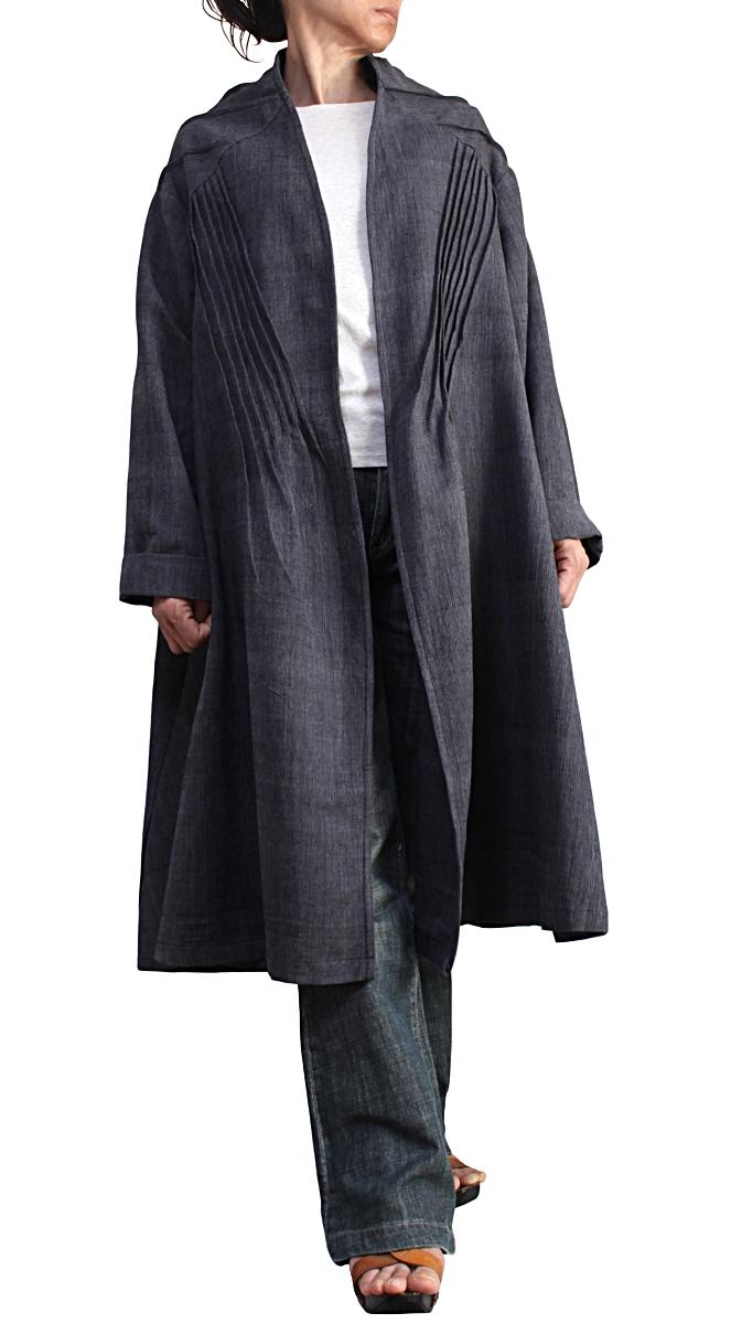 ジョムトン手織り綿の畝使いコート(墨黒)