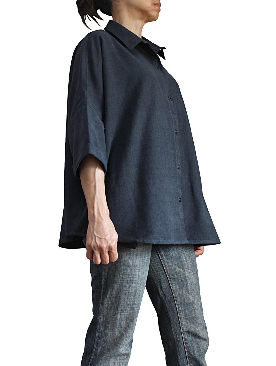 ジョムトン手織り綿のゆったりブラウス(墨黒)