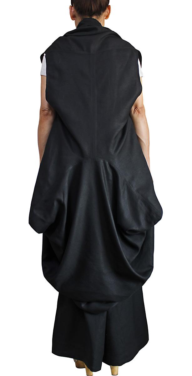 リネン100%の蓑型デザイン羽織(黒)