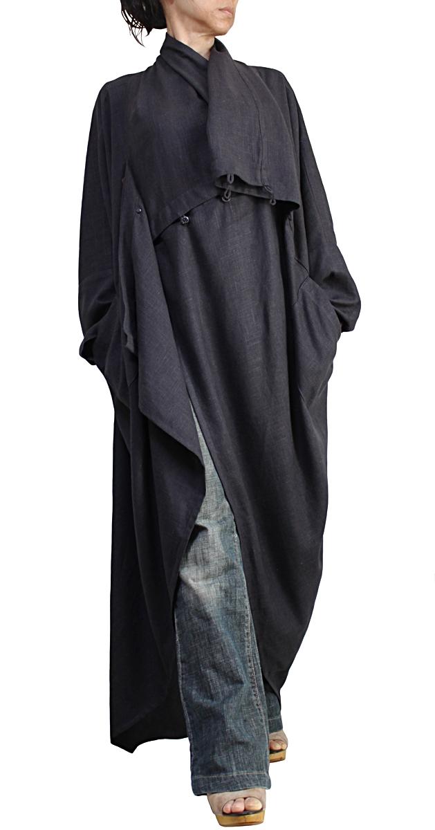 柔らかヘンプのエレガントロングドレスコート
