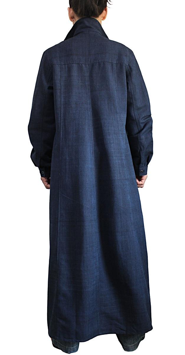 ジョムトン手織り綿ロングシャツコート(インディゴ紺)