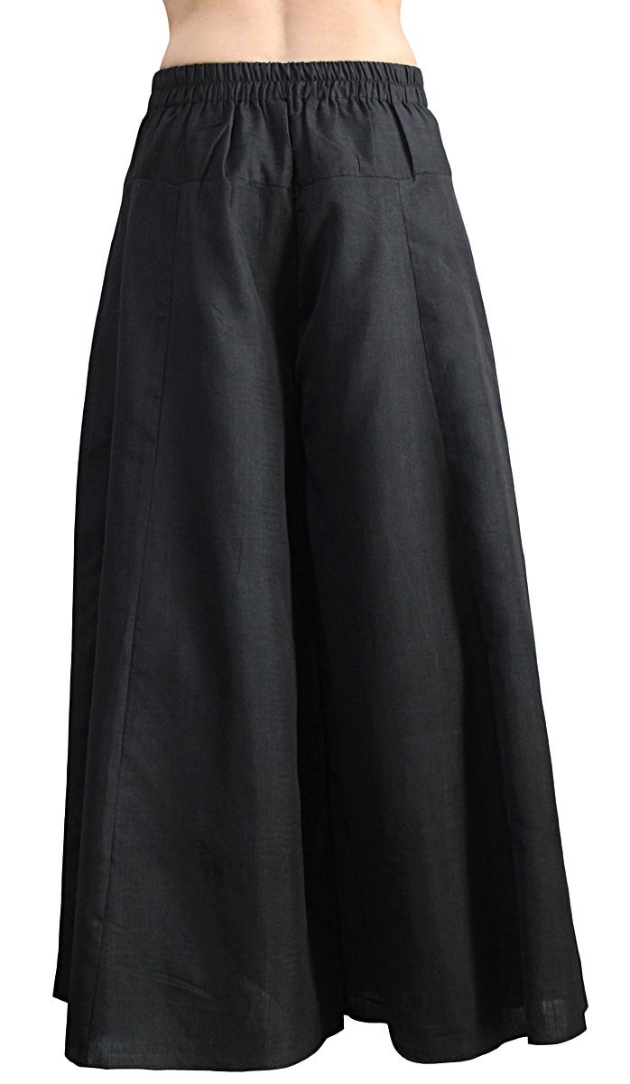 ビルマシルクのクワン風ワイドパンツ(黒)