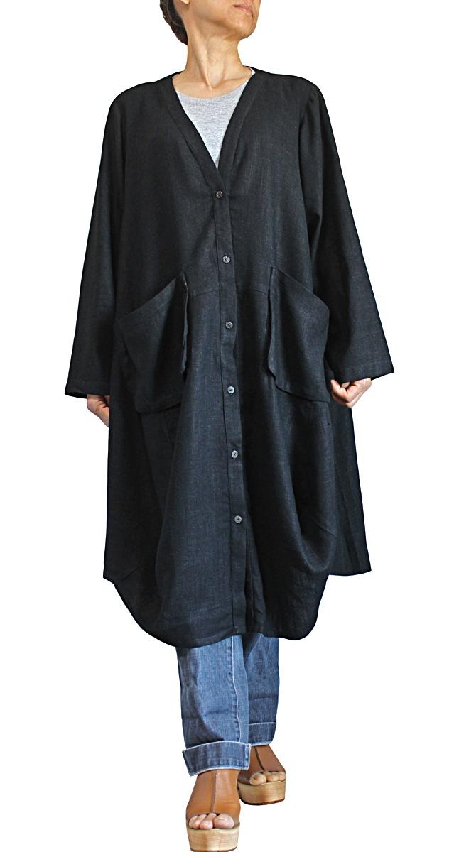 柔らかヘンプのルーズコート(黒)