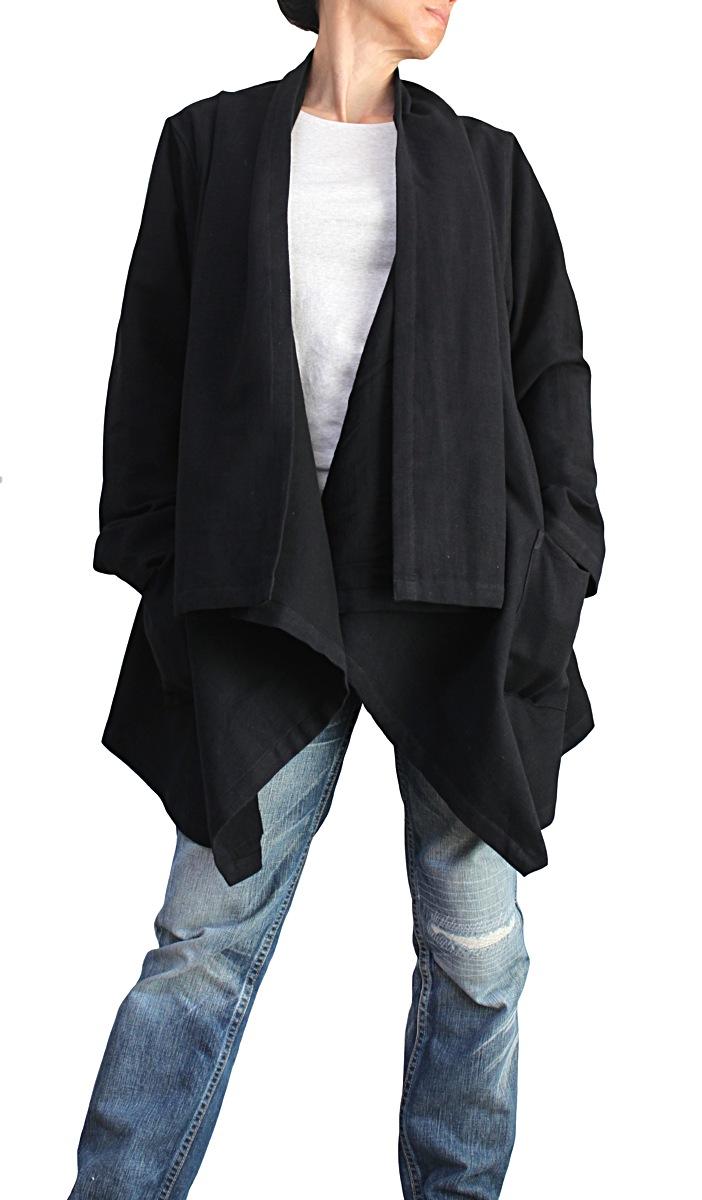 ジョムトン手織り綿オープンジャケット(黒)