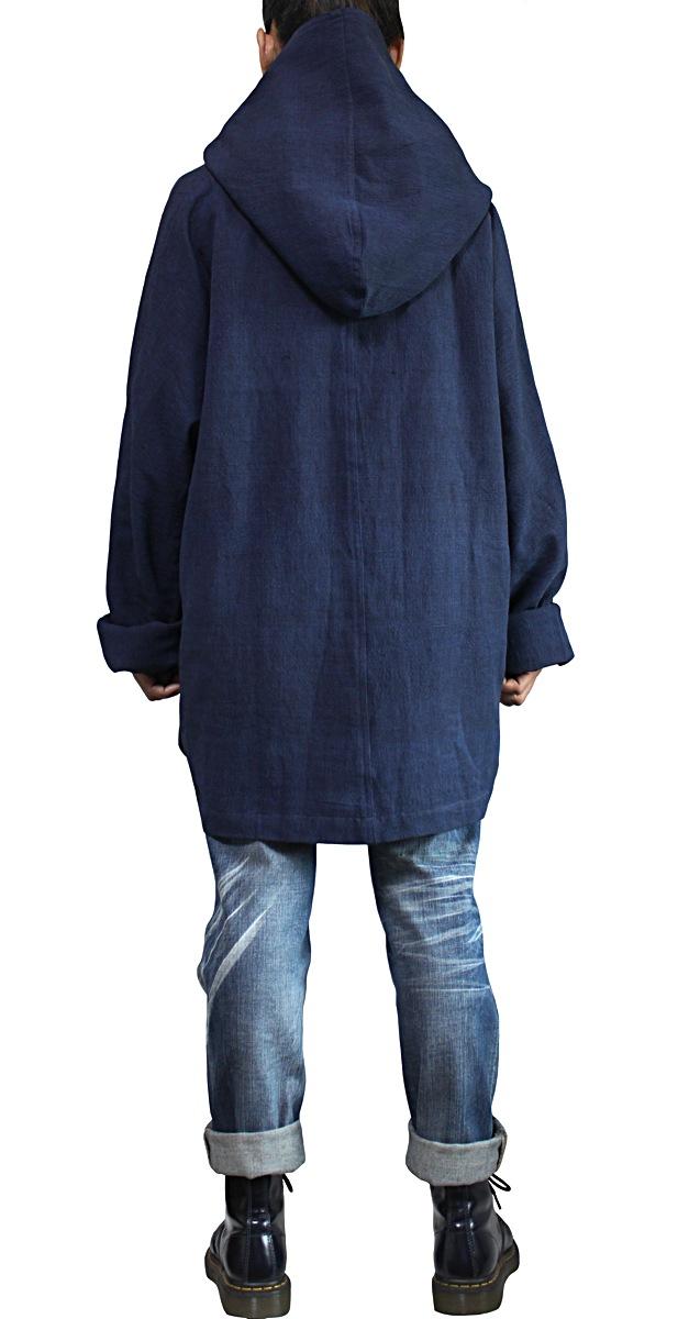 ジョムトン手織り綿ゆったりフーデッドコート(インディゴ紺)