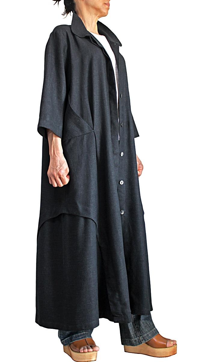 柔らかヘンプの前開きドレスコート(墨黒)