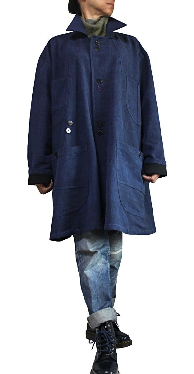 ジョムトン手織り綿ビッグポケットゆったりコート(インディゴ紺)