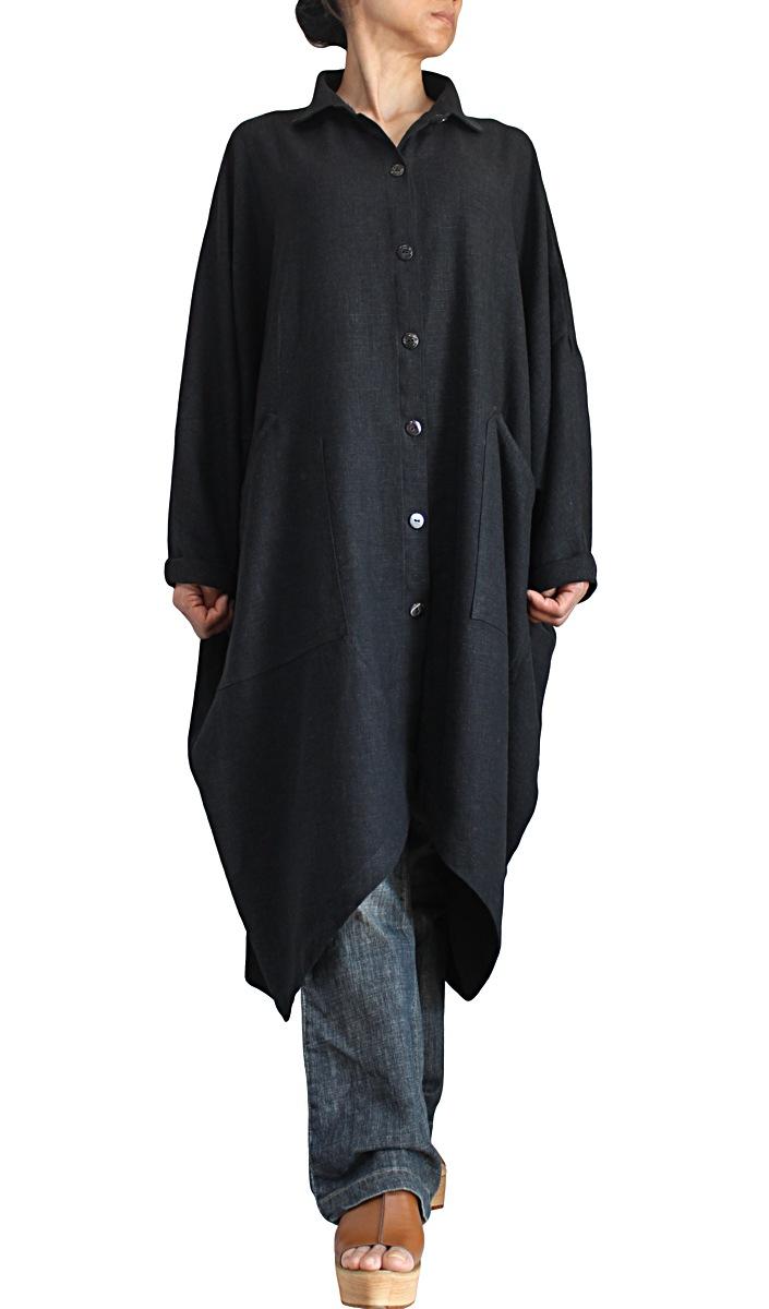 柔らかヘンプの前開きカフタンドレス(墨黒)