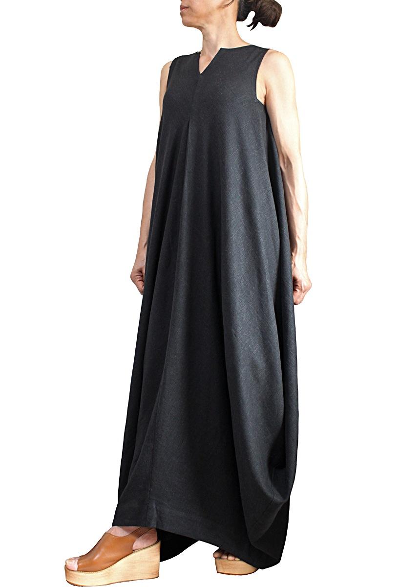 柔らかヘンプのドレープドレス ノースリーブ