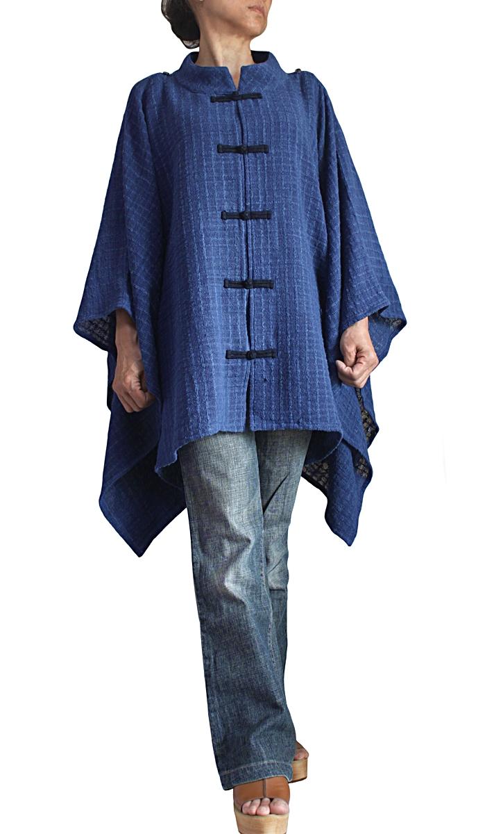ターポン手織り綿のスタンドカラーポンチョケープ(JFS-166-03)