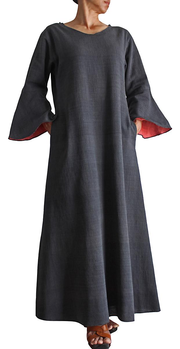 ジョムトン手織り綿ピンク裏地付きシンプルドレス(墨黒)