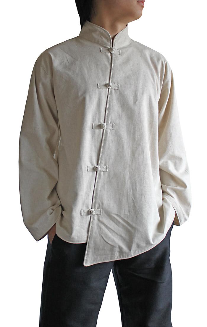 ヘンプのアシンメトリーチャイナシャツジャケット(ナチュラル)