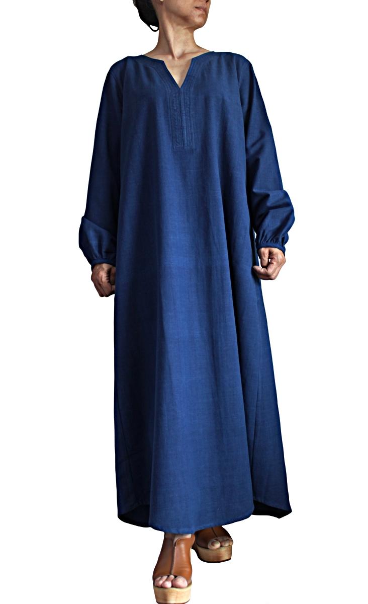 ジョムトン手織り綿のカミーズロングドレス(DFS-065-03)