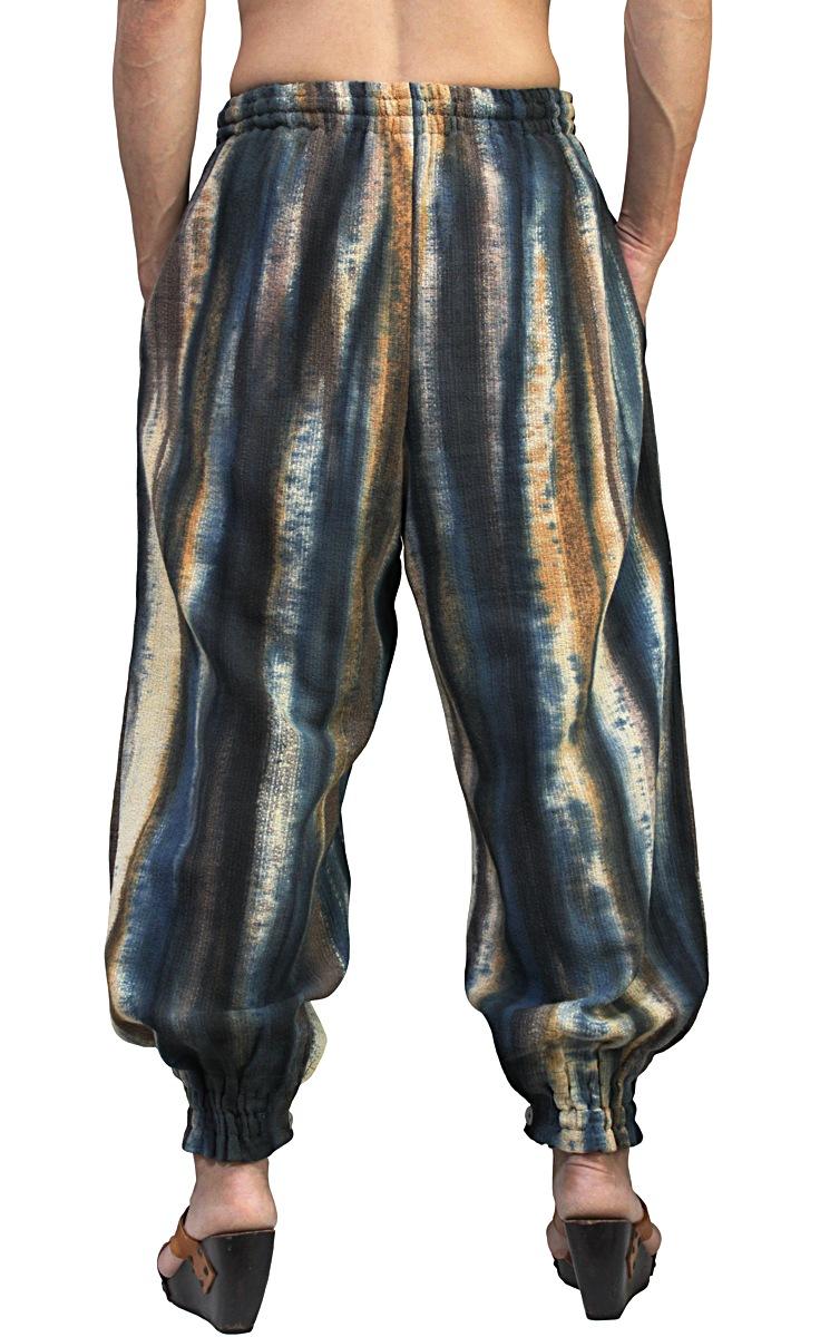 草木染め竹糸織りの裾ボタンパンツ