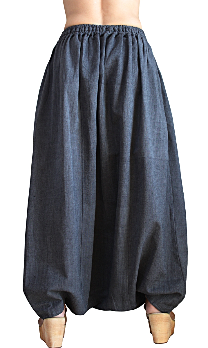 ジョムトン手織り綿の袋状スカート風パンツ(PFS-063-01)