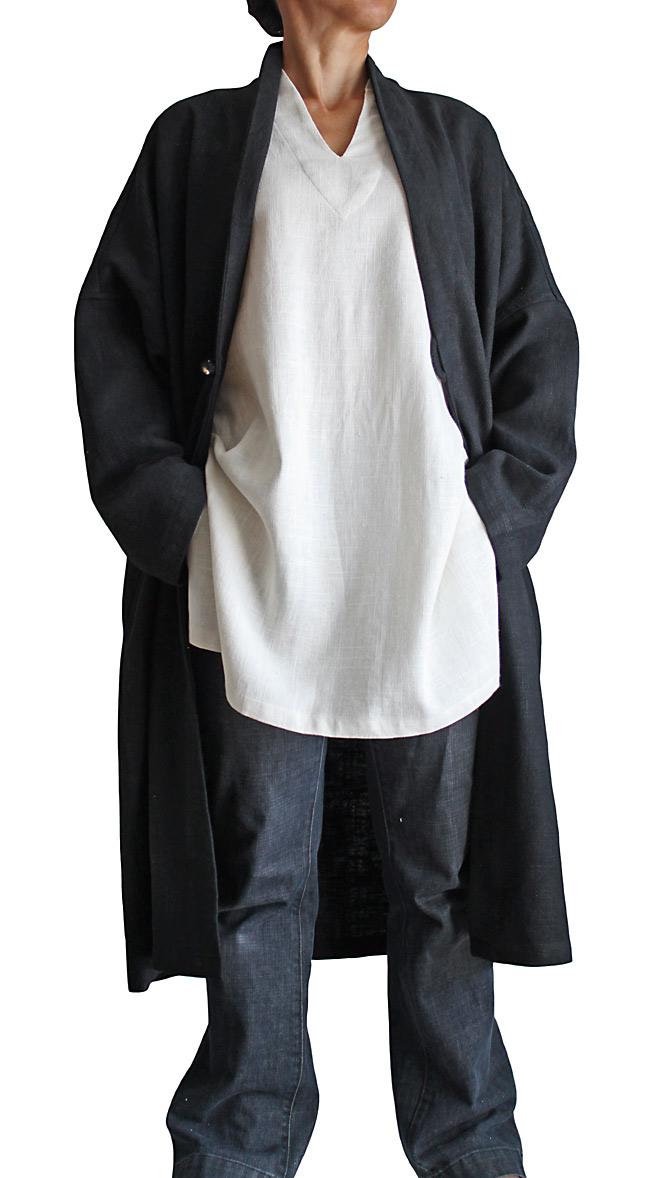 柔らかヘンプの羽織コート(黒)