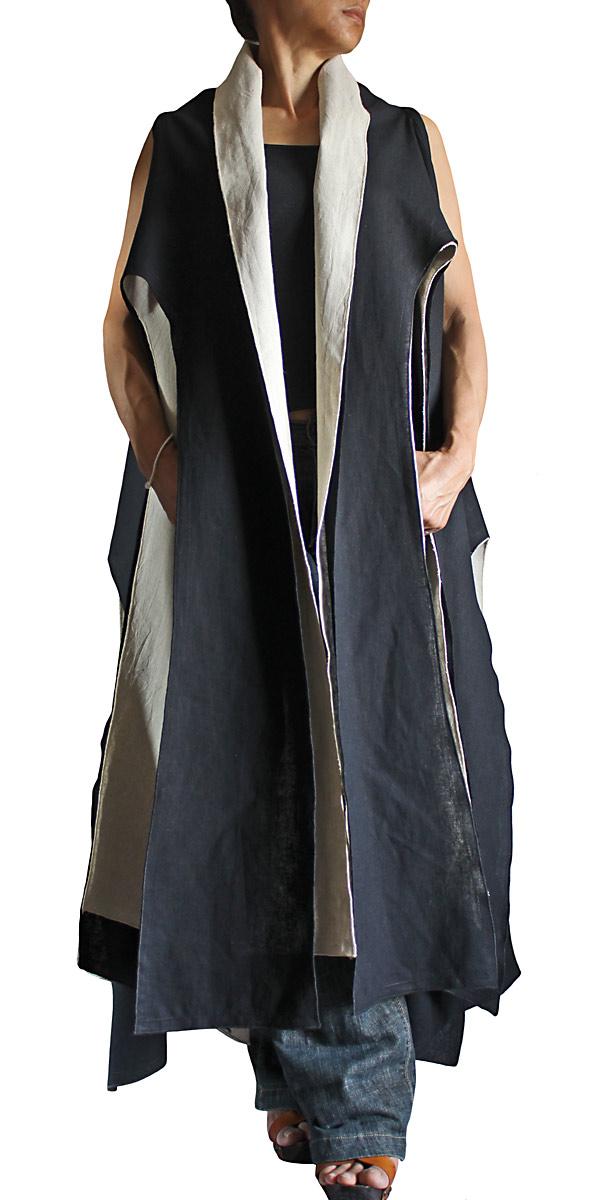 リネンコットンのタコ型ノースリーブ羽織ジャケット二枚重ね