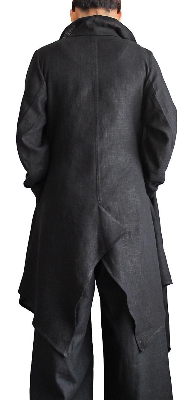 柔らかヘンプのデザインオープンコート(黒)