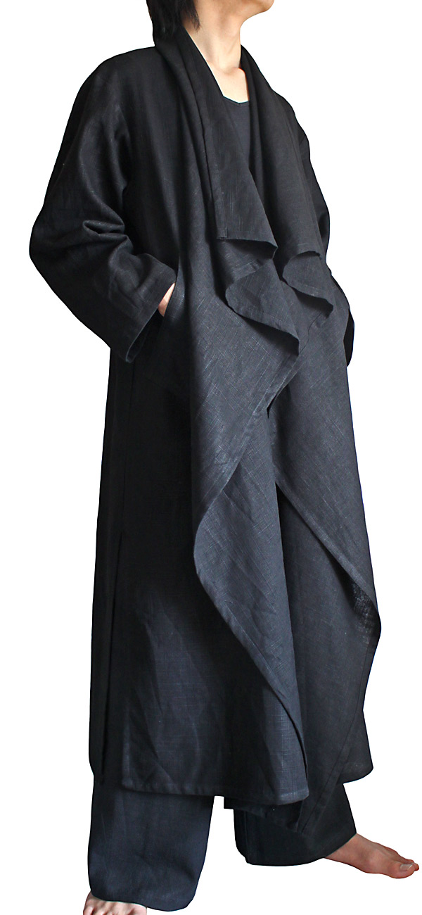 柔らかヘンプのデザインロングコート