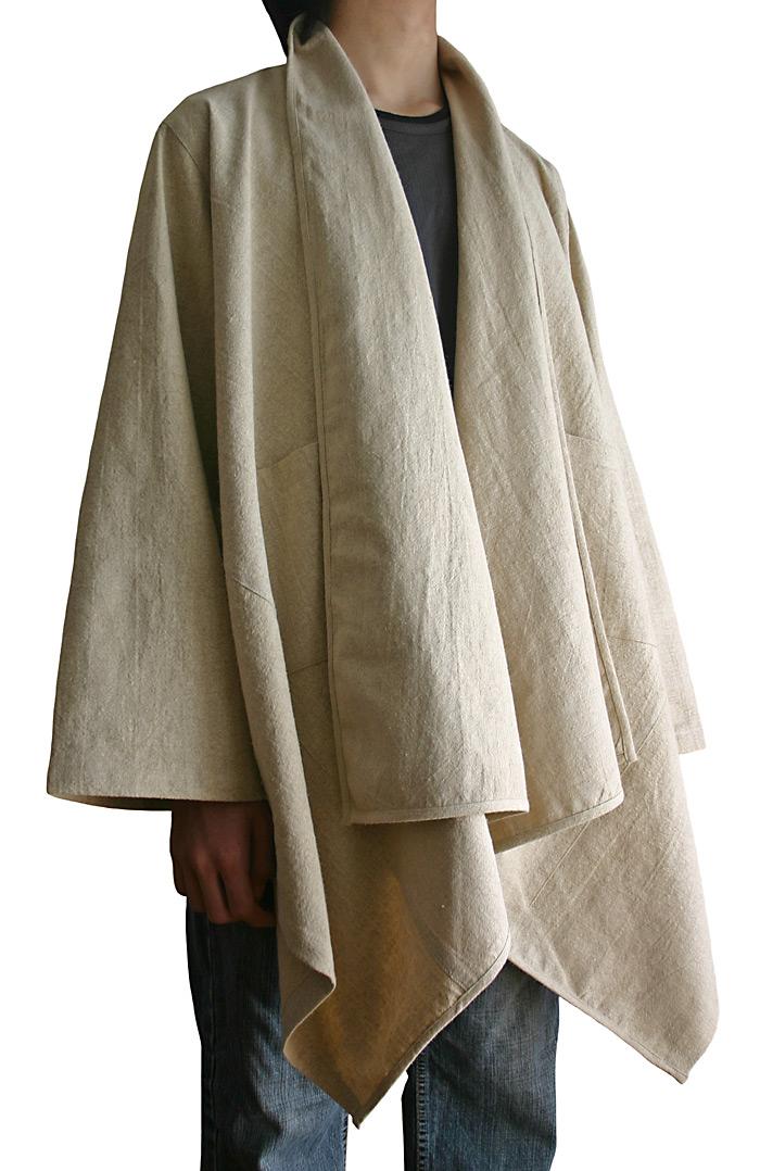 ストーンウォッシュ加工ヘンプのデザインロングジャケット
