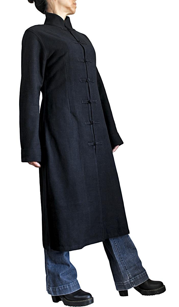 ジョムトン手織り綿のシンプルチャイナコート(黒)