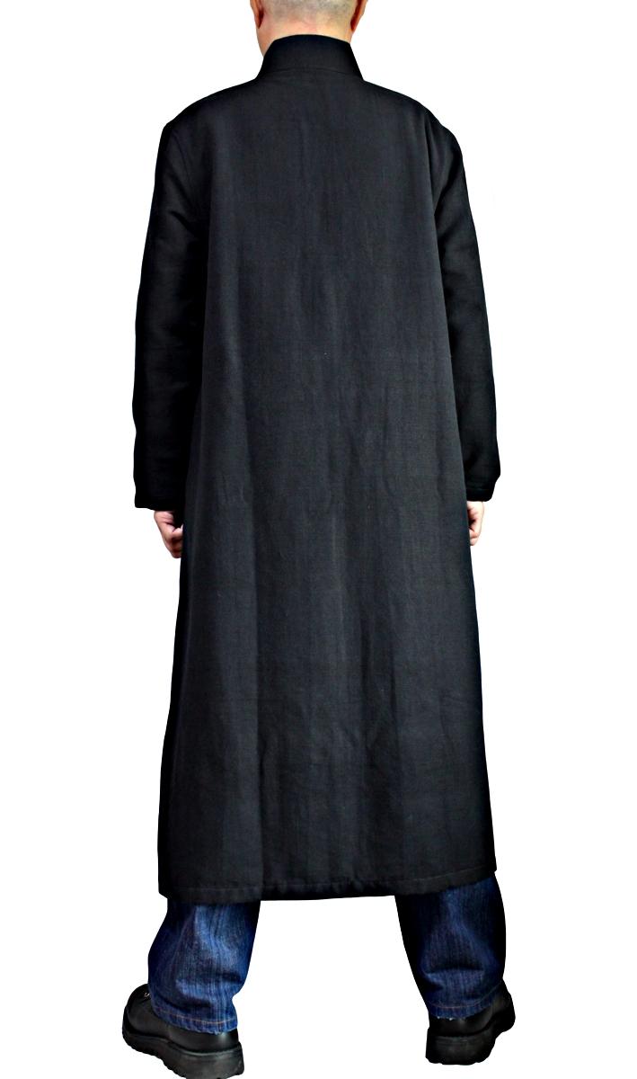 ジョムトン手織り綿メンズパイピングチャイナコート(黒)
