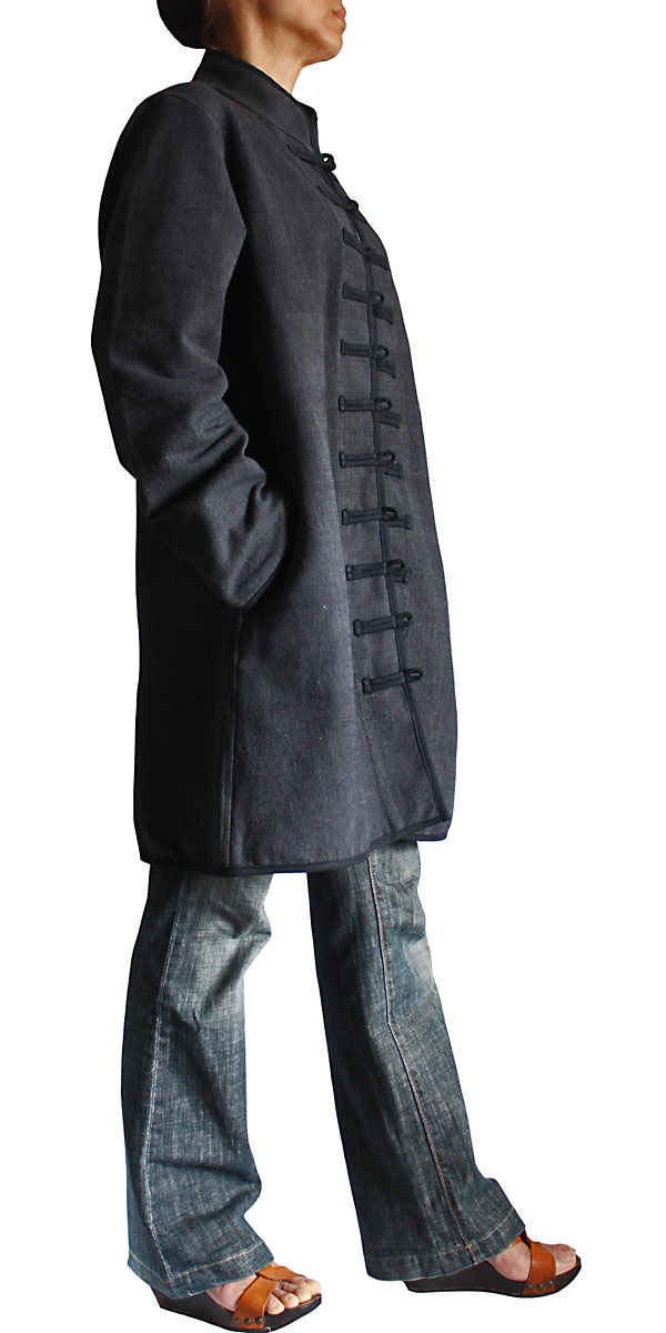 ジョムトン手織り綿チャイナカラーロングジャケット