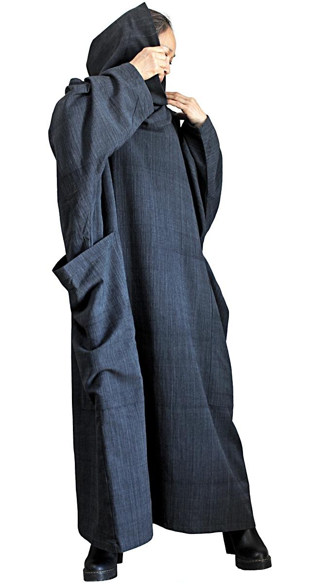 ジョムトン手織り綿オフタートルルーズドレス(墨黒)