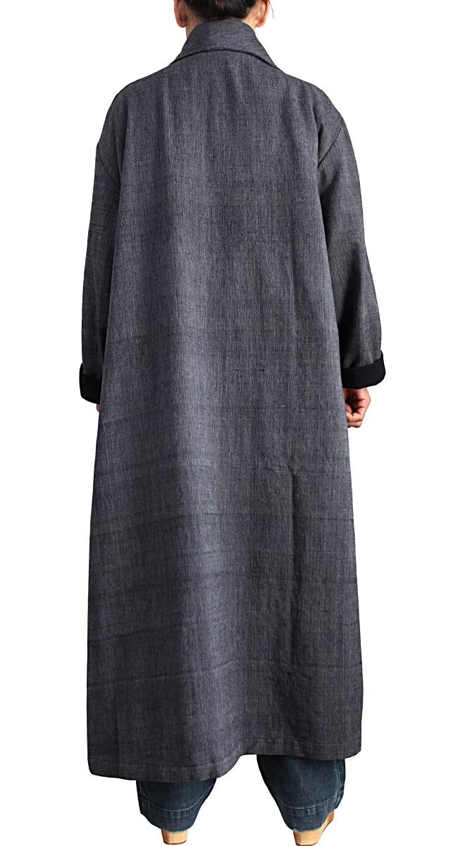 ジョムトン手織り綿のアシンメトリーオープンコート(墨黒)