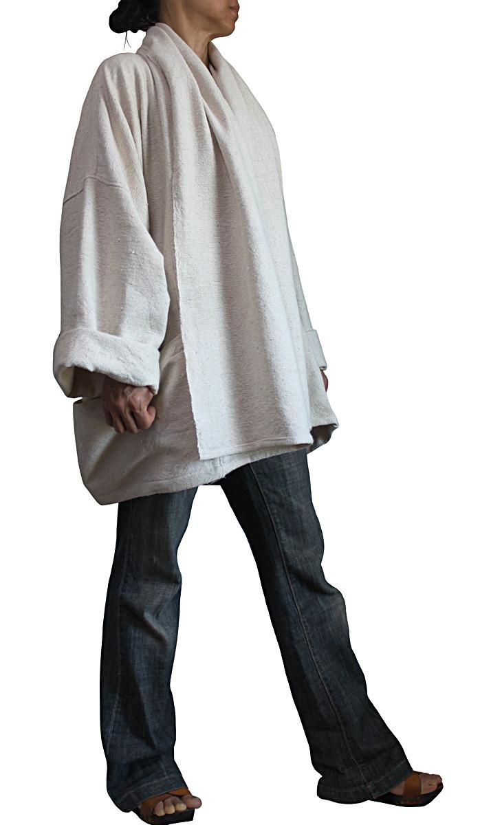 ざっくりジョムトン手織り綿ゆったりデザインジャケット(生成)