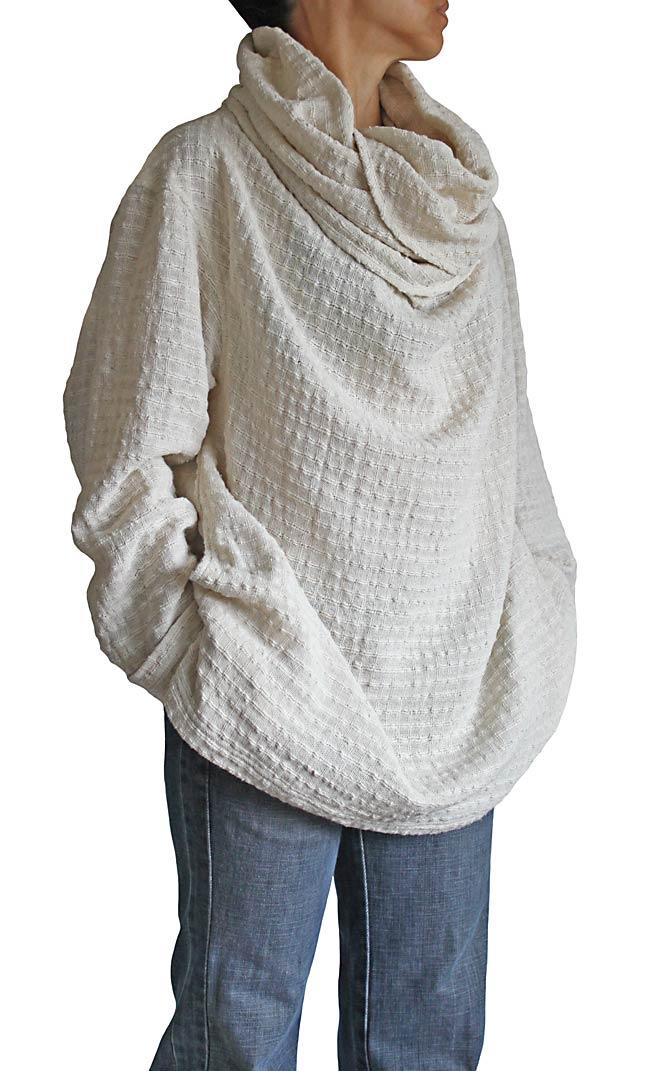 ターポン手織り綿のロングタートル(生成)