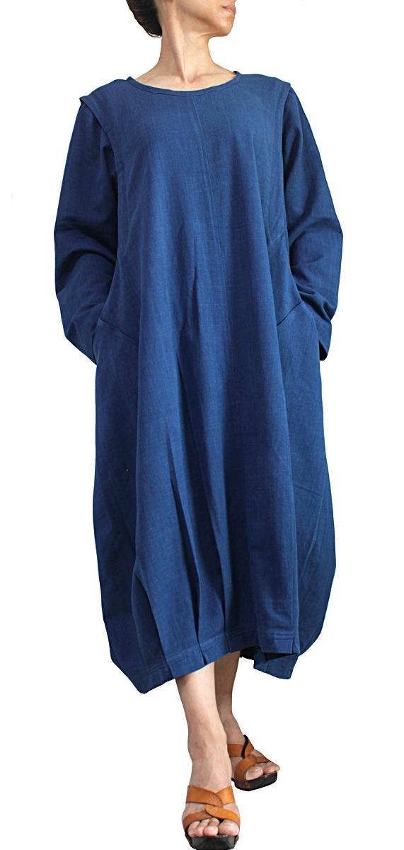 ジョムトン手織り綿のゆったり袋ドレス(インディゴ)