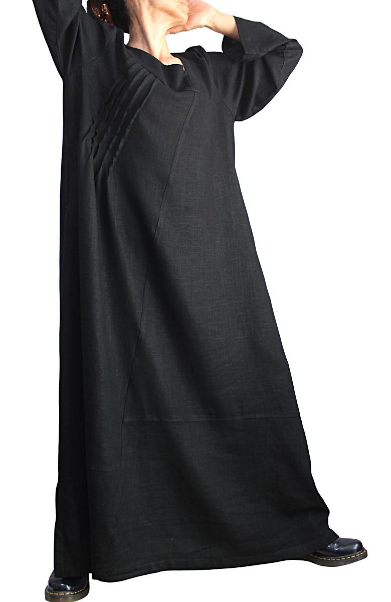 柔らかヘンプのエレガントロングドレスNo3(黒)