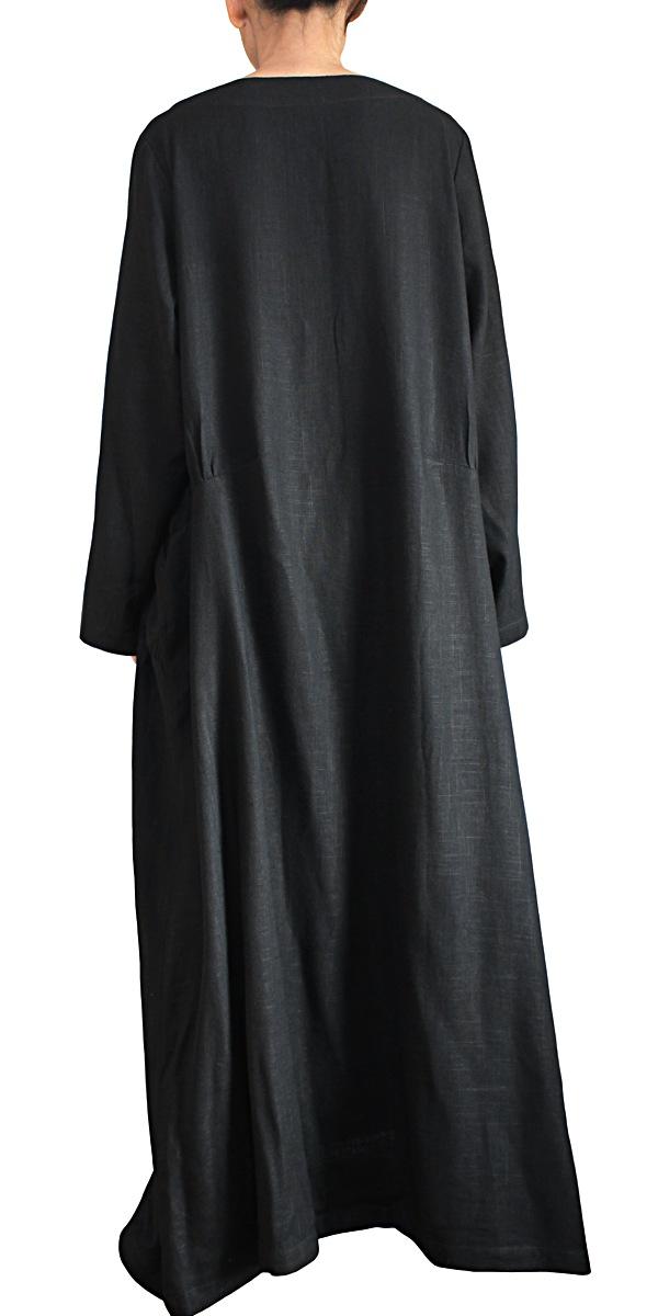 柔らかヘンプのエレガントロングドレスNo2(黒)