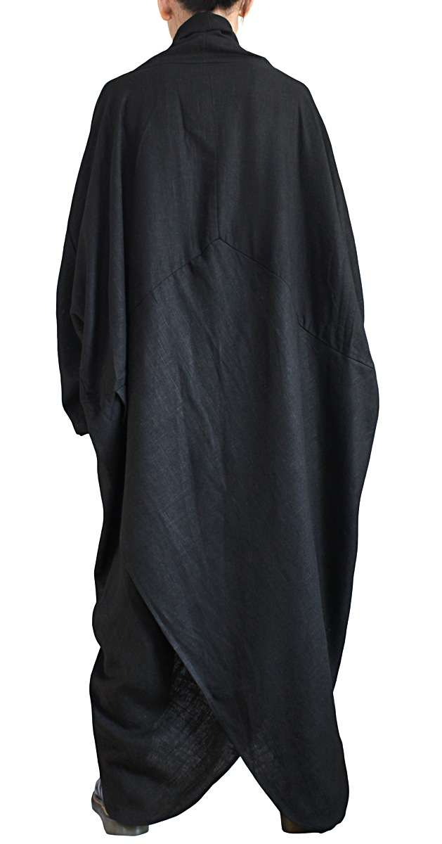柔らかヘンプのエレガントロングドレスNo1(黒)