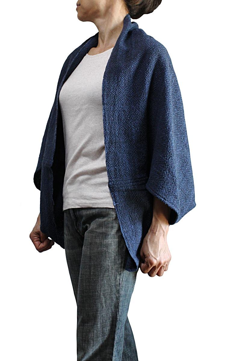 ざっくりジョムトン手織り綿シンプルポンチョ風マント