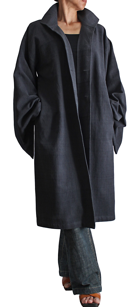 ジョムトン手織り綿着物袖コート腰紐付き(墨黒)